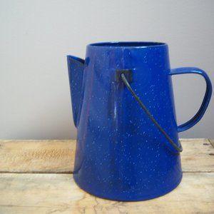 Vintage Cobalt Blue Enamel Metal Pitcher.